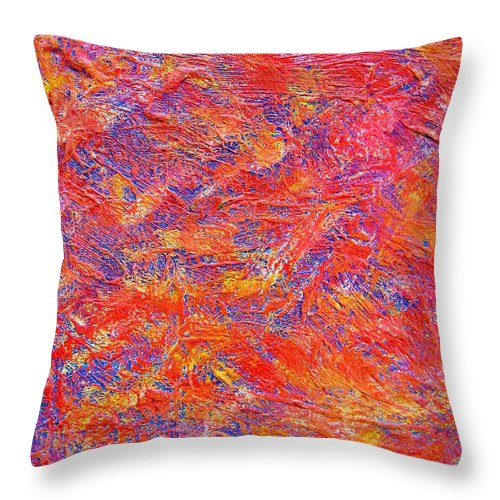 Abstract Throw Pillow featuring the painting School Shootings by Judith Redman