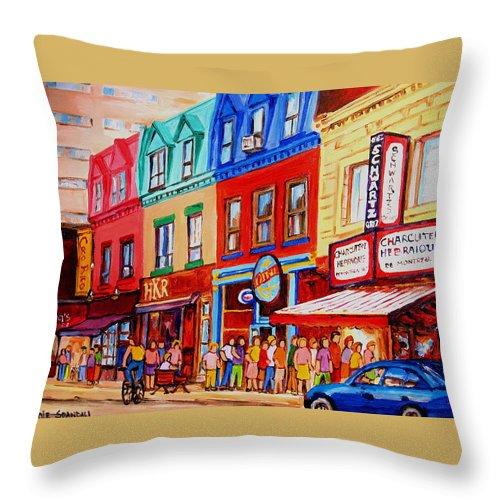 Cityscape Throw Pillow featuring the painting Schwartz Lineup With Simcha by Carole Spandau