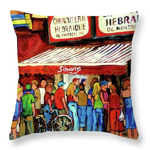Schwartz Deli Throw Pillow featuring the painting Schwartzs Deli Lineup by Carole Spandau