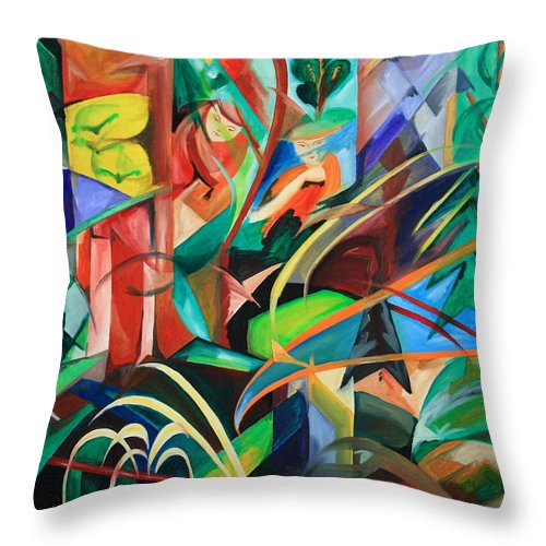 Forest Throw Pillow featuring the painting Schwarzwald - Black Forest by Harri Spietz