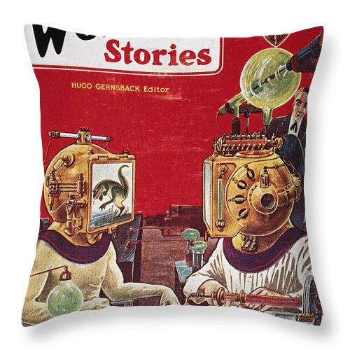 1929 Throw Pillow featuring the photograph Science Fiction Cover, 1929 by Granger