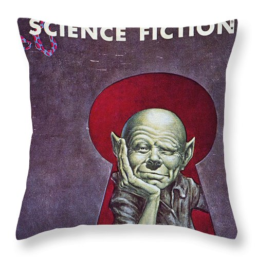 1954 Throw Pillow featuring the photograph Science Fiction Cover, 1954 by Granger