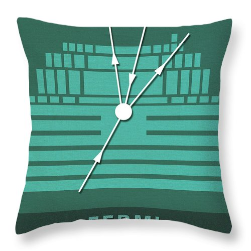 Fermi Throw Pillow featuring the mixed media Science Posters - Enrico Fermi - Physicist by Studio Grafiikka