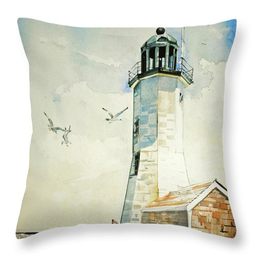 Scituate Light Throw Pillow featuring the painting Scituate Light by P Anthony Visco