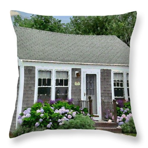 Nantucket Throw Pillow featuring the digital art S'conset Hut 1 by Lin Grosvenor