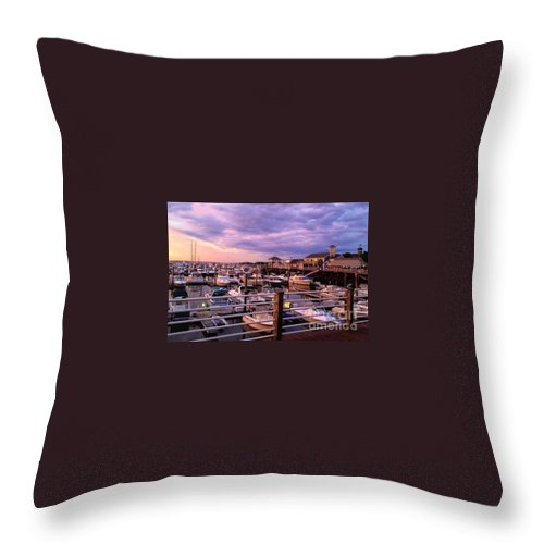 Marina Throw Pillow featuring the photograph Scooping Marina Views From Ice Cream Shop by MaryLou England