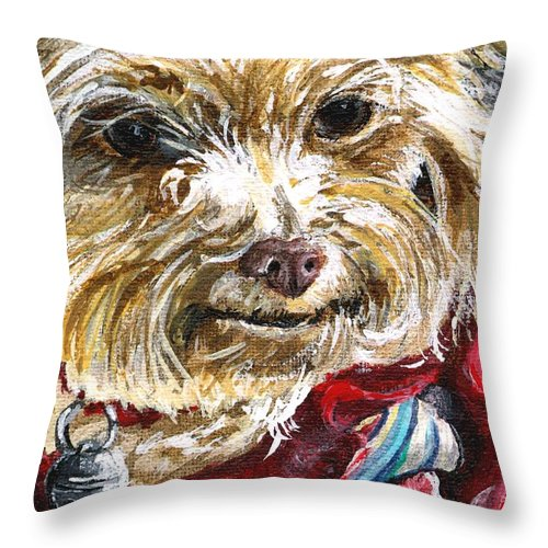 Charity Throw Pillow featuring the painting Scooter From Muttville by Mary-Lee Sanders