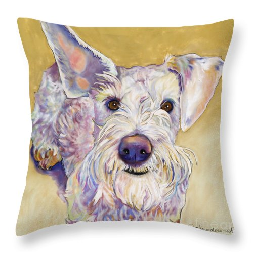 Schnauzer Throw Pillow featuring the pastel Scooter by Pat Saunders-White