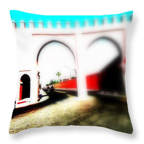 Medina Throw Pillow featuring the photograph Scootering Through A Medina Gate by Funkpix Photo Hunter