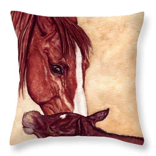 Horse Throw Pillow featuring the painting Scootin by Kristen Wesch