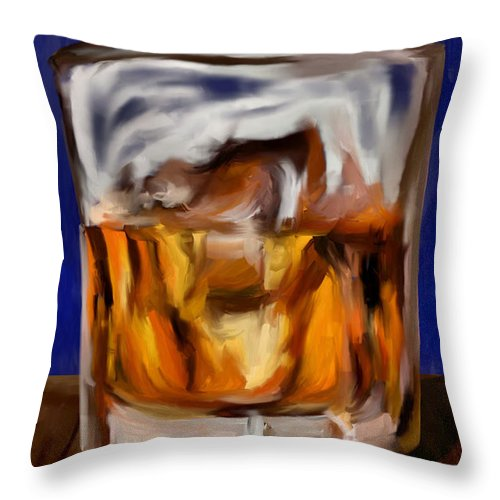 Scotch Throw Pillow featuring the digital art Scotch On The Rocks by Jeff Montgomery
