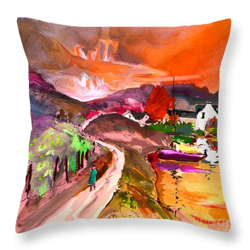 Scotland Paintings Throw Pillow featuring the painting Scotland 02 by Miki De Goodaboom