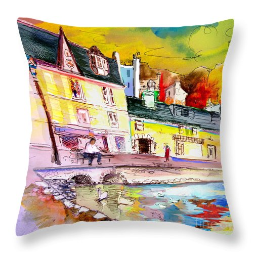 Scotland Paintings Throw Pillow featuring the painting Scotland 04 by Miki De Goodaboom