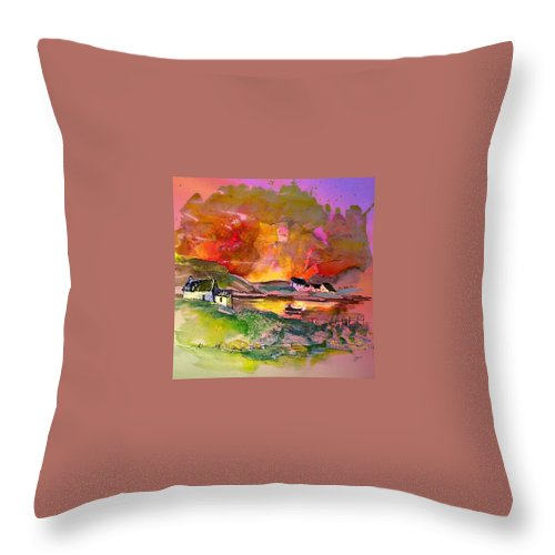 Scotland Paintings Throw Pillow featuring the painting Scotland 07 by Miki De Goodaboom