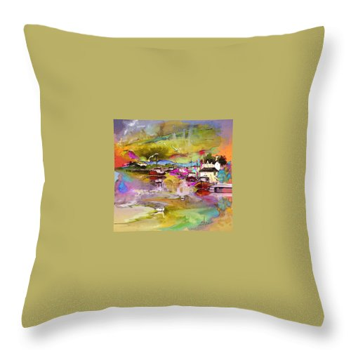 Scotland Paintings Throw Pillow featuring the painting Scotland 13 by Miki De Goodaboom