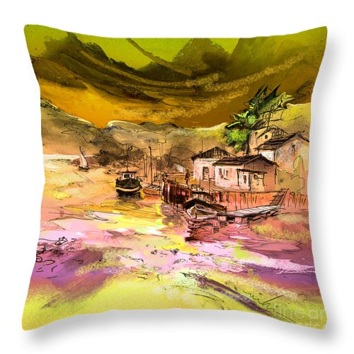 Scotland Paintings Throw Pillow featuring the painting Scotland 14 by Miki De Goodaboom