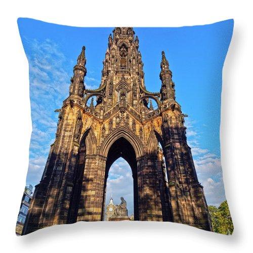 Europe Throw Pillow featuring the photograph Scott Monument, Edinburgh, Scotland by Karol Kozlowski