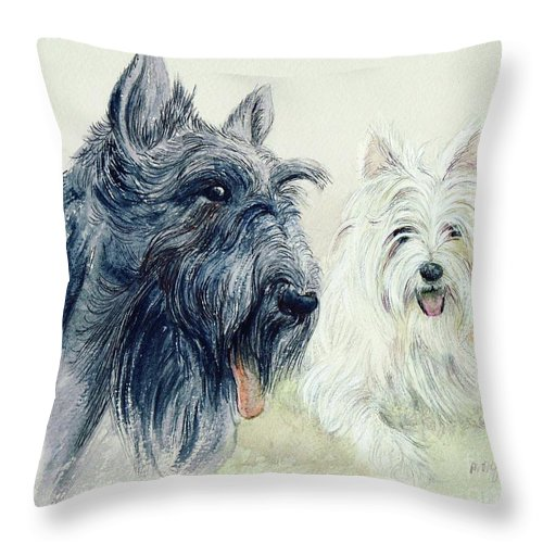 Scottie Throw Pillow featuring the painting Scottie And Westie by Morgan Fitzsimons