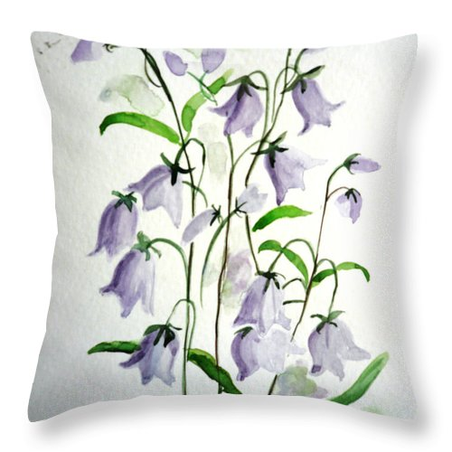 Blue Bells Hare Bells Purple Flower Flora Throw Pillow featuring the painting Scottish Blue Bells by Karin Dawn Kelshall- Best