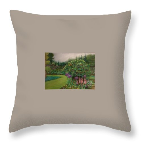 Landscape Throw Pillow featuring the painting Scottish Garden by M J Venrick