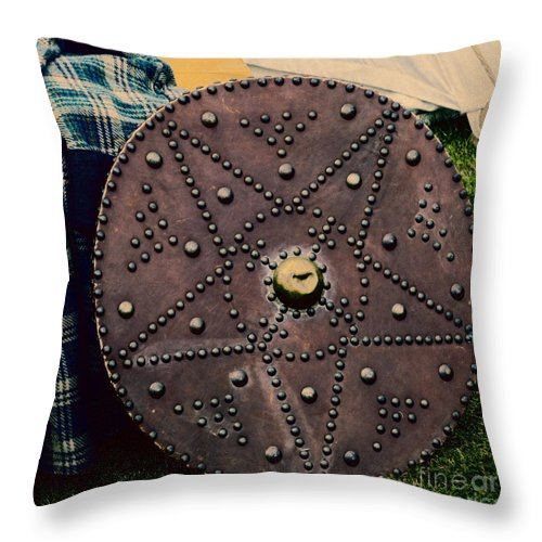 Ancient Throw Pillow featuring the photograph Scottish Targe by Diane Macdonald