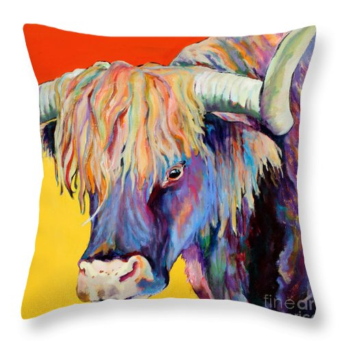 Farm Animal Throw Pillow featuring the painting Scotty by Pat Saunders-White