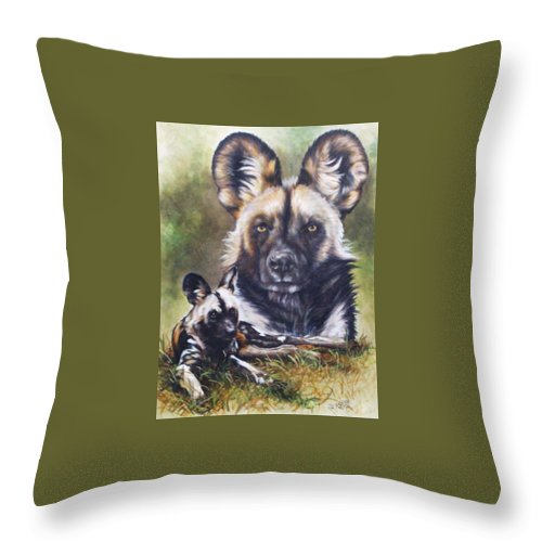 Wild Dogs Throw Pillow featuring the mixed media Scoundrel by Barbara Keith