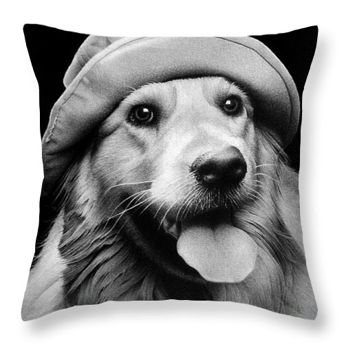 Animal Throw Pillow featuring the drawing Scout by Miro Gradinscak