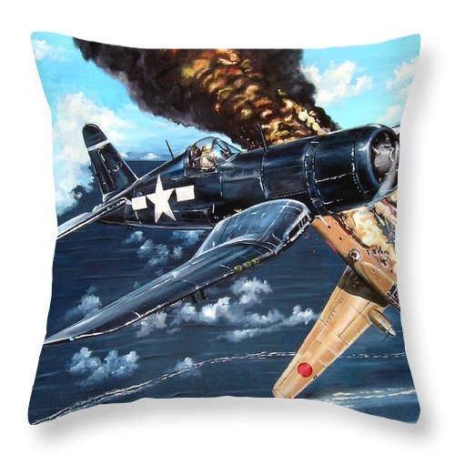 Military Throw Pillow featuring the painting Scratch One Betty by Marc Stewart