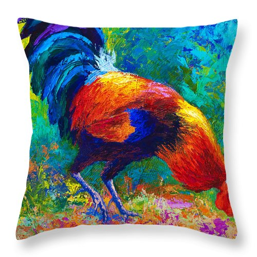 Rooster Throw Pillow featuring the painting Scratchin' Rooster by Marion Rose