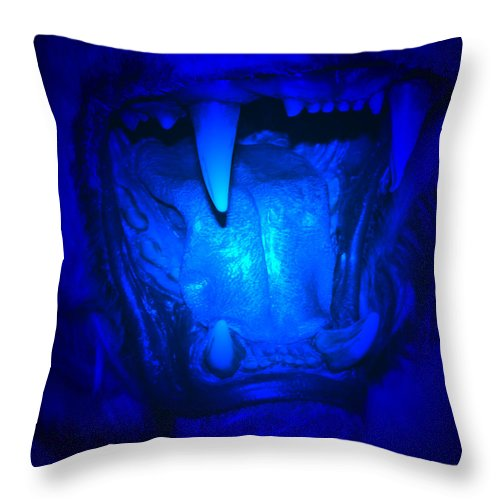 Tiger Teeth Jaws Fangs Scream Big Cat Halloween Mouth Tongue Emotion Throw Pillow featuring the photograph Scream by Andrea Lawrence