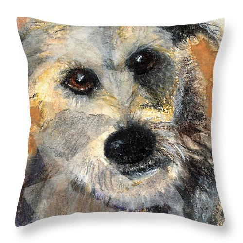 Dog Throw Pillow featuring the mixed media Scruffy by Arline Wagner