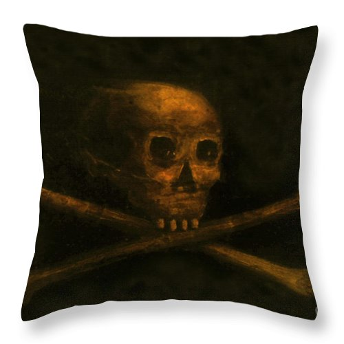 Scull And Crossbones Throw Pillow featuring the painting Scull And Crossbones by David Lee Thompson