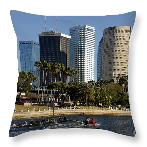 Sculling Throw Pillow featuring the photograph Sculling In Tampa Bay Florida by David Lee Thompson