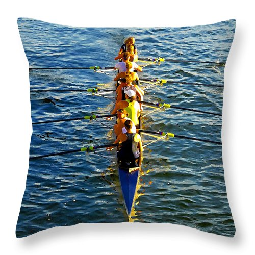 Females Throw Pillow featuring the photograph Sculling Women by David Lee Thompson