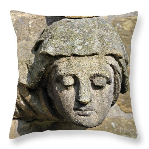 Sculpted Head Woman Church Saint Mary Angels. Bolton-le-sands Throw Pillow featuring the photograph Sculpted Head Of Woman. by Stan Pritchard