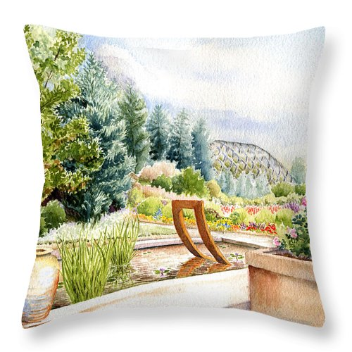 Watercolor Landscape Throw Pillow featuring the painting Sculpture Pool at Denver Botanic Gardens by Karla Beatty
