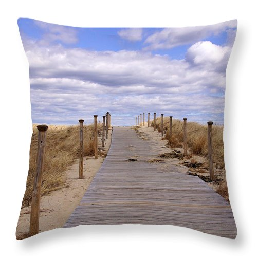 Scusset Beach Throw Pillow featuring the photograph Scusset Beach Entrance by Mike Poland