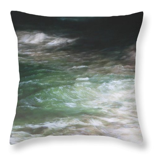 Oil Throw Pillow featuring the painting Sea At Night 160 X 220 Cm by Thomas Darnell