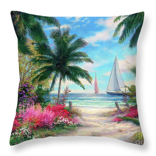 Tropical Throw Pillow featuring the painting Sea Breeze Trail by Chuck Pinson