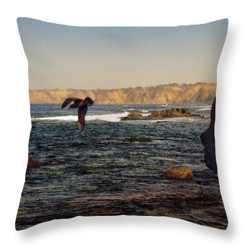 Ocean Throw Pillow featuring the digital art Sea Cliff by Steve Karol