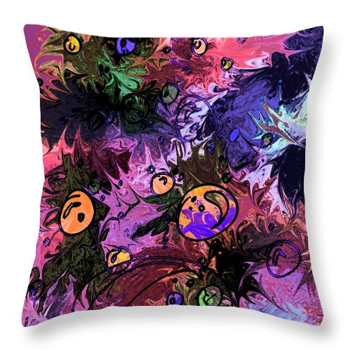 Abstract Throw Pillow featuring the digital art Sea Creatures by Rachel Christine Nowicki