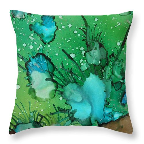Abstract Throw Pillow featuring the painting Sea Floor by Beth Kluth