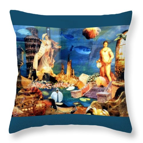 Fantasy Throw Pillow featuring the painting Sea Garden by Gail Kirtz