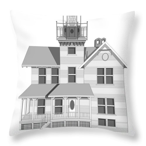 Lighthouse Throw Pillow featuring the painting Sea Girt New Jersey Architectural Drawing by Anne Norskog