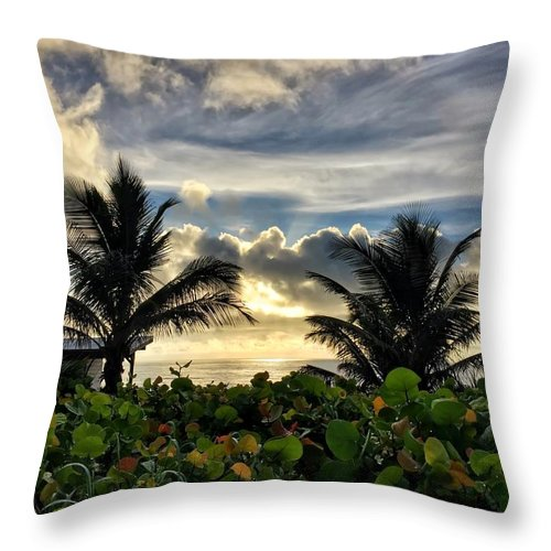 Sunrise Throw Pillow featuring the photograph Sea Grapes And More by Juan Montalvo