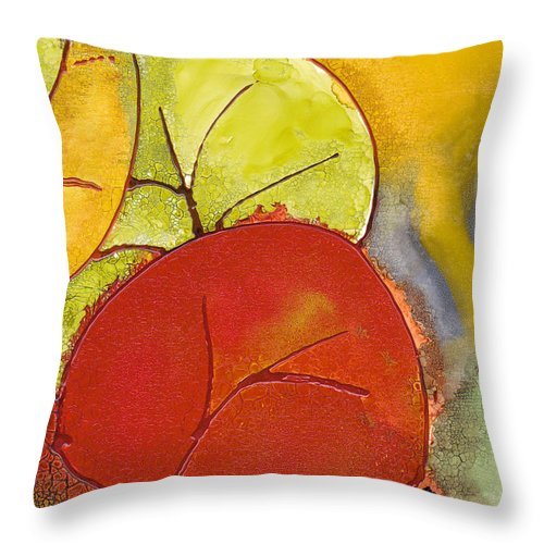 Leaf Throw Pillow featuring the painting Sea Grapes by Susan Kubes