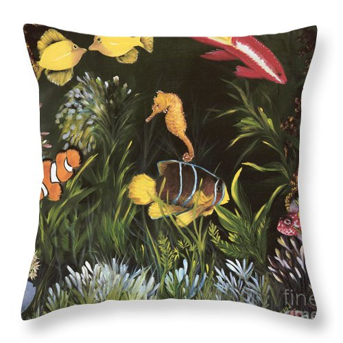 Sea Throw Pillow featuring the painting Sea Harmony by Carol Sweetwood