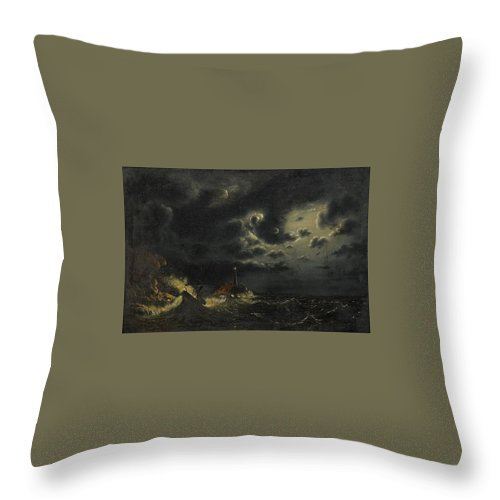 Marcus Larson 1825-1864 Sea In The Moonlight With The Lighthouse And Buring Boat Throw Pillow featuring the painting Sea In The Moonlight by Marcus Larson
