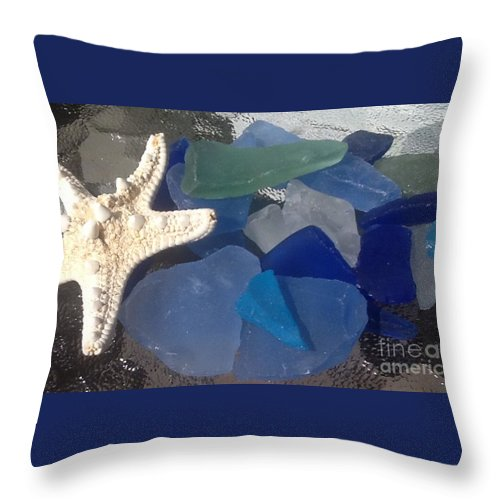 Sea Glass Throw Pillow featuring the photograph Sea Jewels by Gina Sullivan